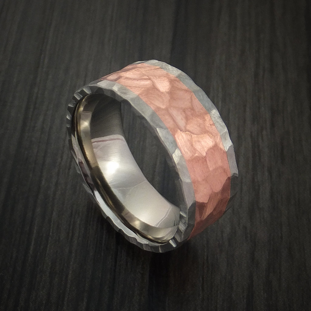 Titanium and Copper Ring with Rock Hammer Finish Custom Made - Revolution Jewelry  - 1