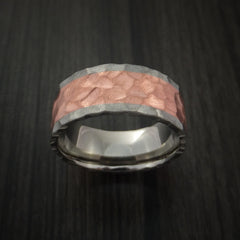 Titanium and Copper Ring with Rock Hammer Finish Custom Made - Revolution Jewelry  - 2
