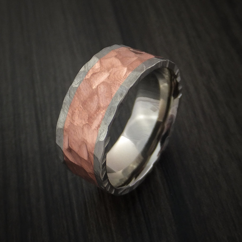 Titanium and Copper Ring with Rock Hammer Finish Custom Made ...