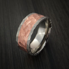Titanium and Copper Ring with Rock Hammer Finish Custom Made - Revolution Jewelry  - 4