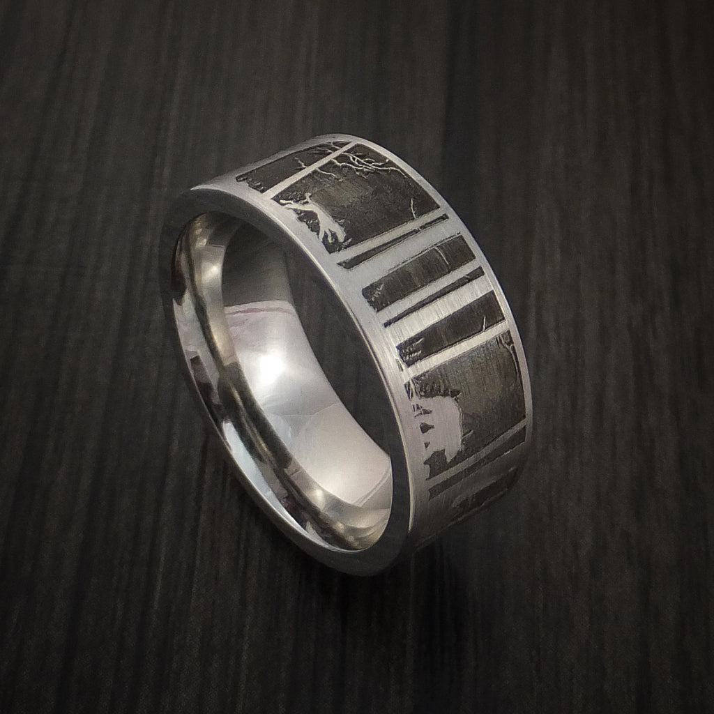 Bear and Dog in the Woods Hunter Wedding Ring Cobalt Chrome Band