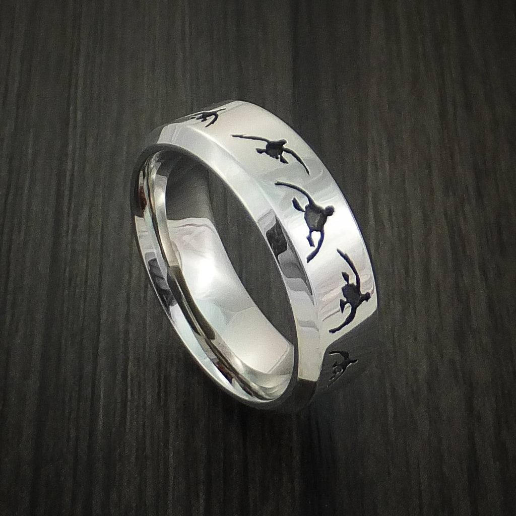 Cobalt Chrome Duck Hunter Ring Custom Made Band by Revolution Jewelry