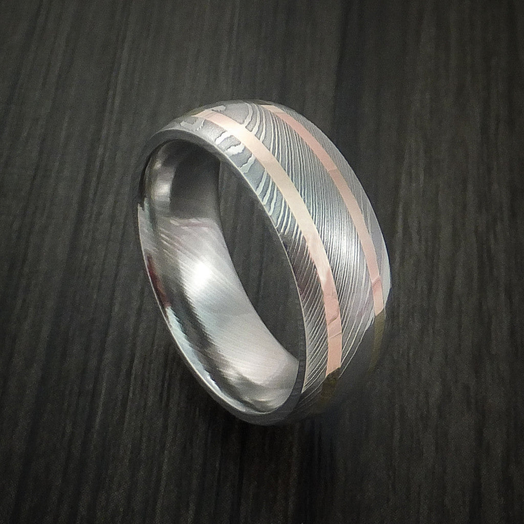 Damascus Steel and 14k Gold Custom Made Band