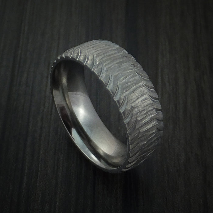 Titanium Carved Tread Design Ring Bold Unique Band Custom Made to Any Size