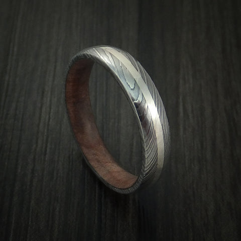 Damascus Steel Ring with Silver Inlay and Kauri Hard Wood Sleeve
