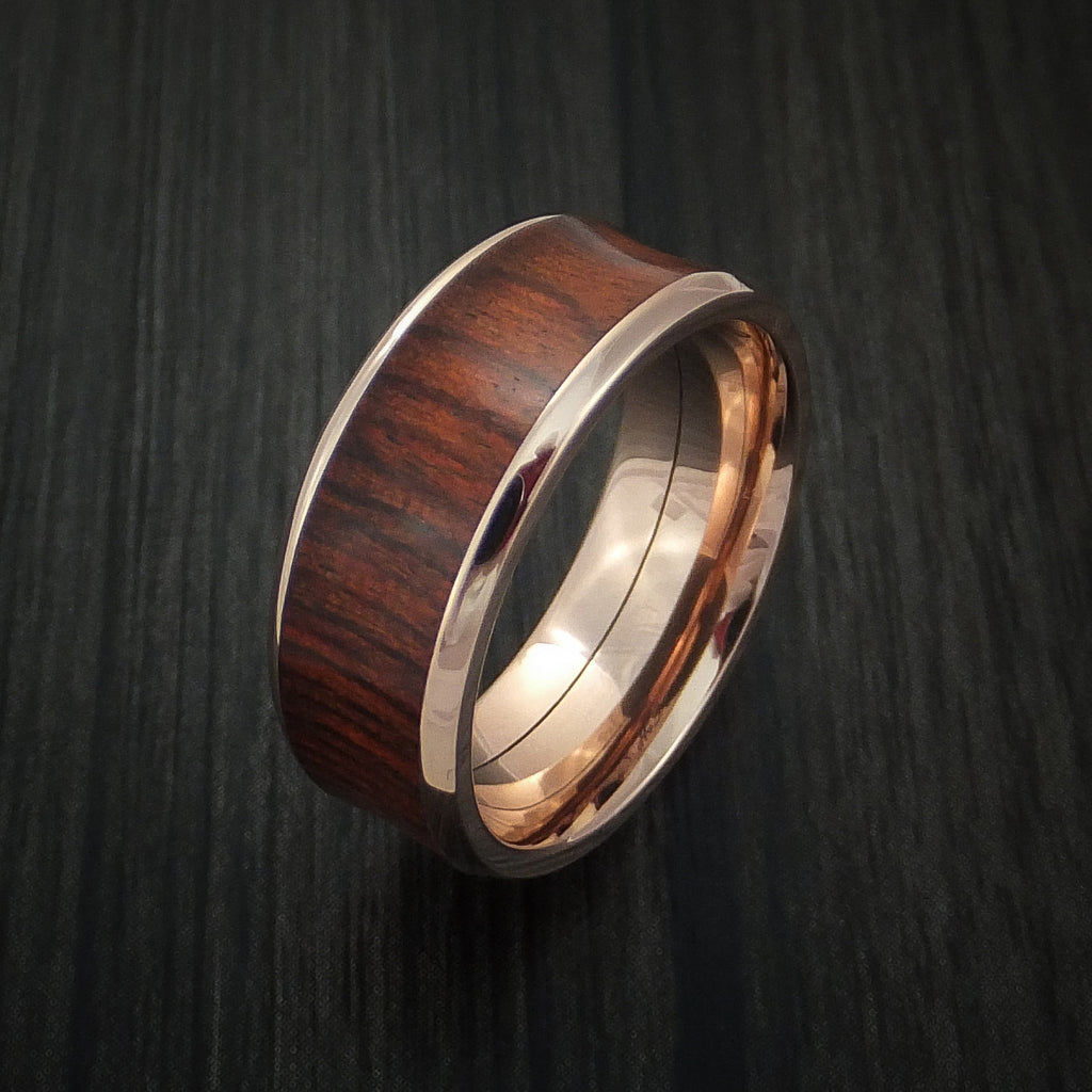 Red Heart Wood Hardwood in 14K Rose Gold Wedding Band Custom Made