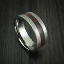 Titanium and Red Dinosaur Bone Ring Custom Made Fossil Band