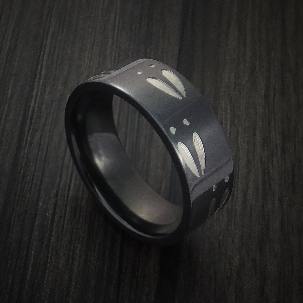 Black Zirconium Deer Track Ring Custom Made Hunter Band by Revolution Jewelry