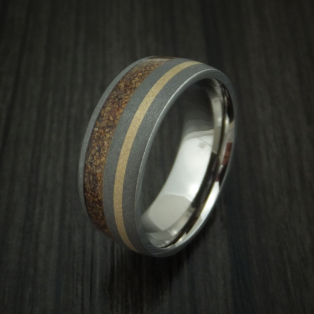 Titanium and Tan Dinosaur Bone Ring with 14K Yellow Gold Custom Made Fossil Band