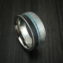 Titanium Black Dinosaur Bone and Gibeon Meteorite Ring with Turquoise Inlay Custom Made Fossil Band