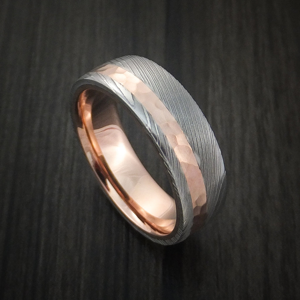 Damascus Steel Ring with 14K Rose Gold Hammered Inlay and Gold Sleeve Custom Made Band - Revolution Jewelry  - 1