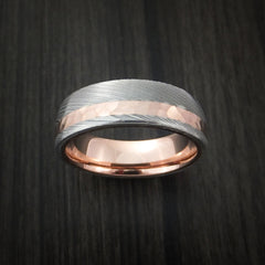 Damascus Steel Ring with 14K Rose Gold Hammered Inlay and Gold Sleeve Custom Made Band - Revolution Jewelry  - 2