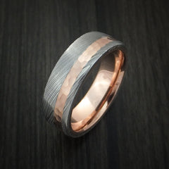 Damascus Steel Ring with 14K Rose Gold Hammered Inlay and Gold Sleeve Custom Made Band - Revolution Jewelry  - 3