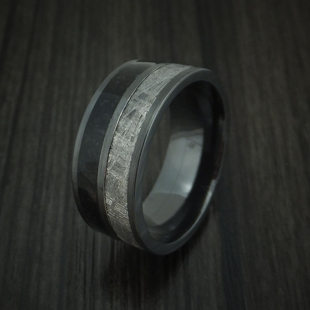 Black Zirconium Black Dinosaur Bone and Gibeon Meteorite Ring Custom Made Fossil Band