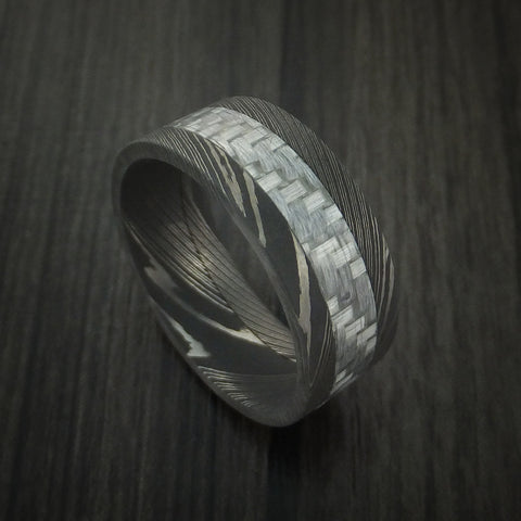 Damascus Steel and Carbon Fiber Ring Custom Made Band