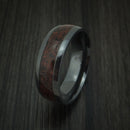 Black Zirconium and Red Dinosaur Bone Ring Custom Made Fossil Band