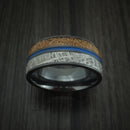 Black Zirconium Tan Dinosaur Bone and Gibeon Meteorite Ring with Cerakote Inlay Custom Made Fossil Band