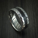 Kuro Damascus Steel and Black Dinosaur Bone Rock Hammered Ring Custom Made Fossil Band