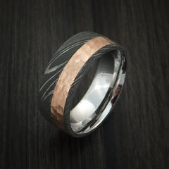 Damascus Steel Ring with 14K Rose Gold Hammered Inlay and Gold Sleeve Custom Made Band - Revolution Jewelry  - 4