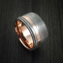 Damascus Steel 14K Rose Gold Ring with Gold Sleeve Wedding Band Custom Made