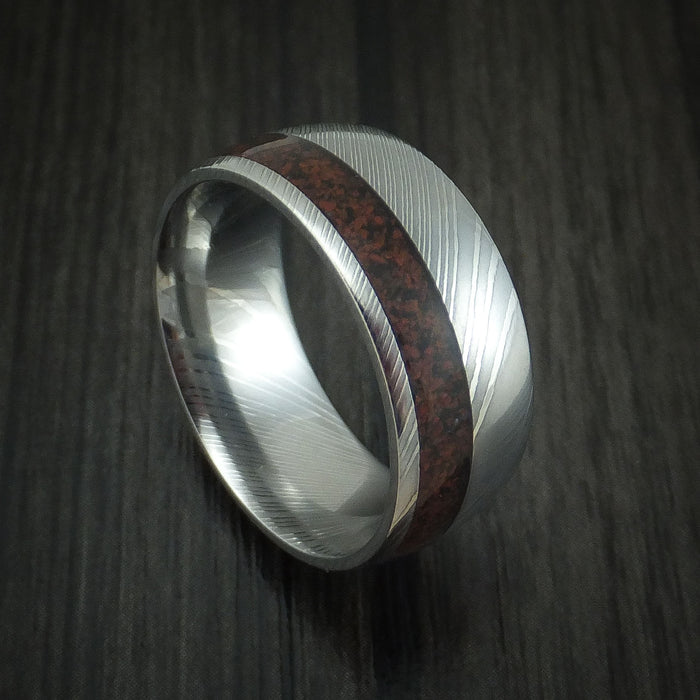 Damascus Steel and Red Dinosaur Bone Ring Custom Made Fossil Band