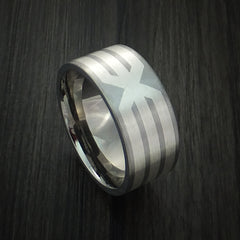 Titanium and Sterling Silver Ring Custom Made X Cross Band