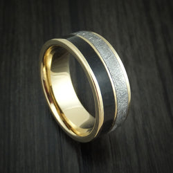 14K Yellow Gold Black Dinosaur Bone and Gibeon Meteorite Ring Custom Made Fossil Band