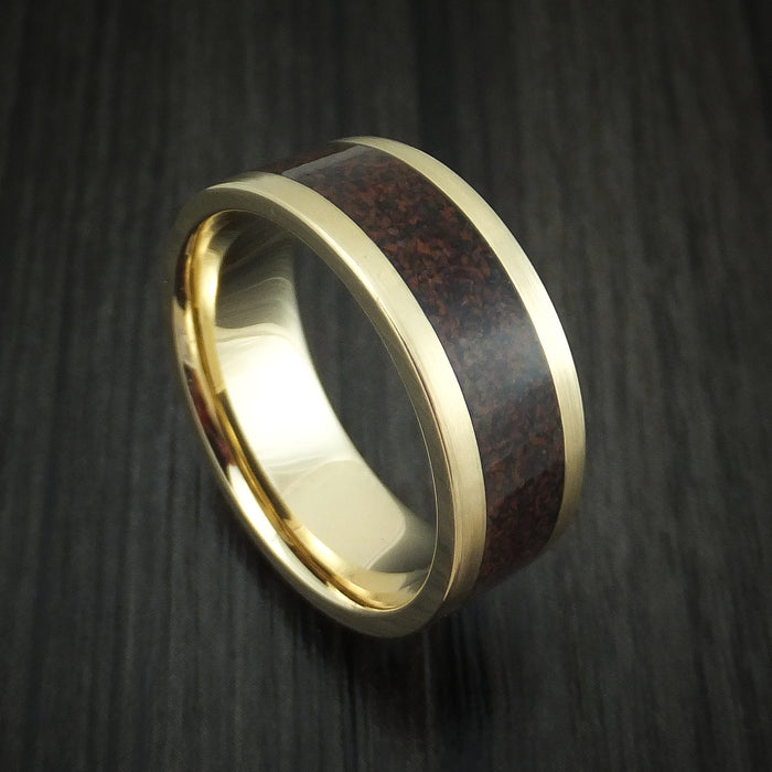 14K Yellow Gold and Red Dinosaur Bone Ring Custom Made Fossil Band