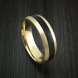 14K Yellow Gold and Black Dinosaur Bone Ring Custom Made Fossil Band