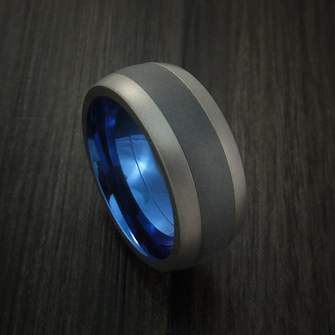 Titanium and Black Zirconium Inlay and Blue Anodized Inside Custom Ring Made to Any Sizing and Finish