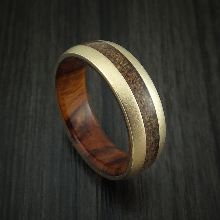 14K Yellow Gold and Tan Dinosaur Bone Ring with Desert Ironwood Burl Wood Sleeve Custom Made Fossil Band