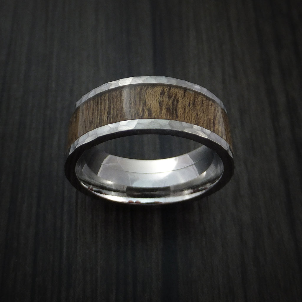 Wood Ring and Titanium Ring inlaid with DESERT IRONWOOD BURL Custom Made to Any Size and Optional Wood Types