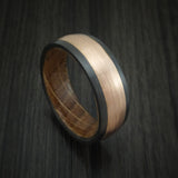 Black Zirconium and 14K Rose Gold band with Whiskey Barrel Wood Sleeve Custom Made