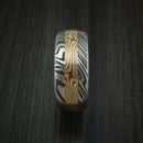 Kuro Damascus Steel and Yellow Gold Mokume Shakudo Gane Inlay Custom Made Band