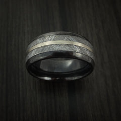 Gibeon Meteorite in Black Zirconium Band with 14K White Gold Ring