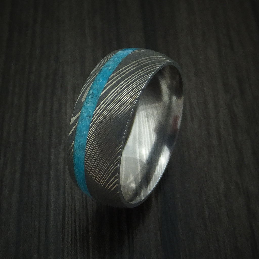 Damascus Steel Ring with Turquoise Inlay Custom Made Band