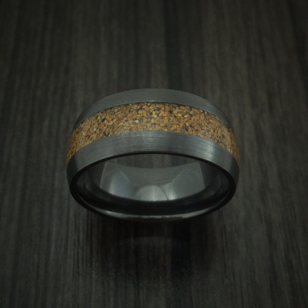Black Zirconium and Tan Dinosaur Bone Ring Custom Made Fossil Band