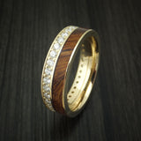 14K Yellow Gold Eternity Diamond Band with Desert Ironwood Burl Inlay Custom Made Ring