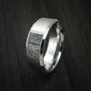 Cobalt Chrome Personalized Fingerprint Ring Wedding Band Custom Made