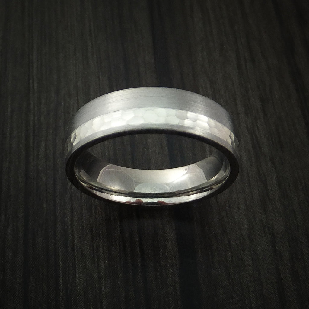 Titanium and Silver Ring Hammered Wedding Band Custom Made