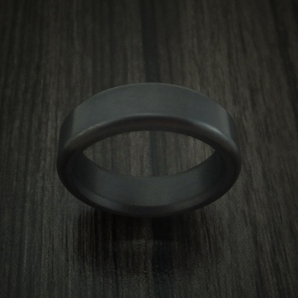 Elysium Black Diamond Slim Wedding Band Rounded with Polish Finish