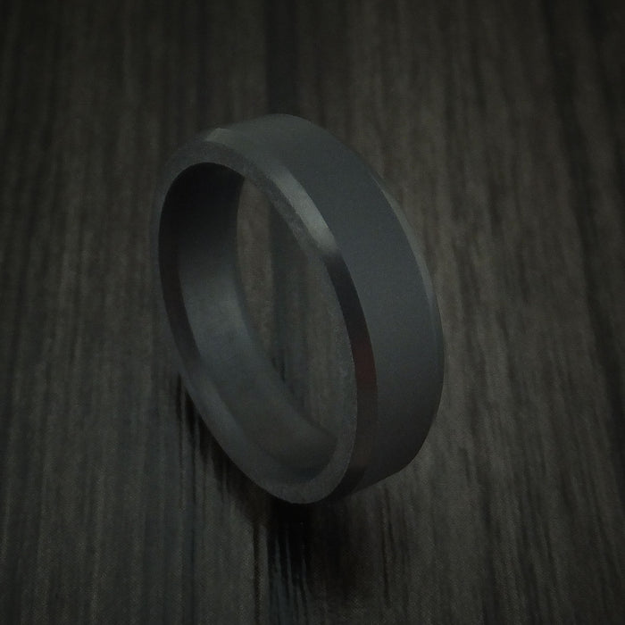 Elysium Black Diamond Slim Wedding Band Beveled with Matte Finish