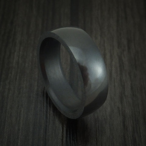 Elysium Black Diamond Slim Wedding Band Domed with Polish Finish