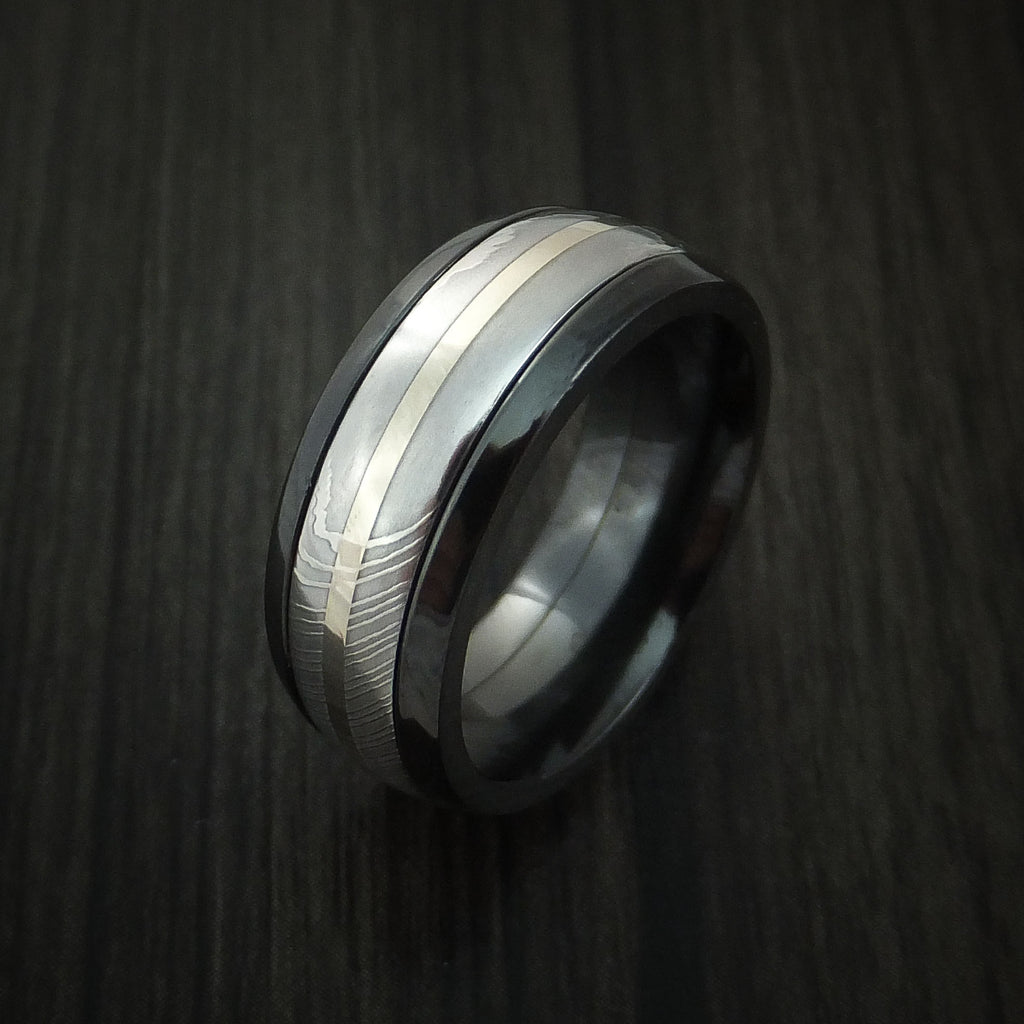 Black Zirconium and Damascus Steel Band 14K White Gold Center Custom Made Ring