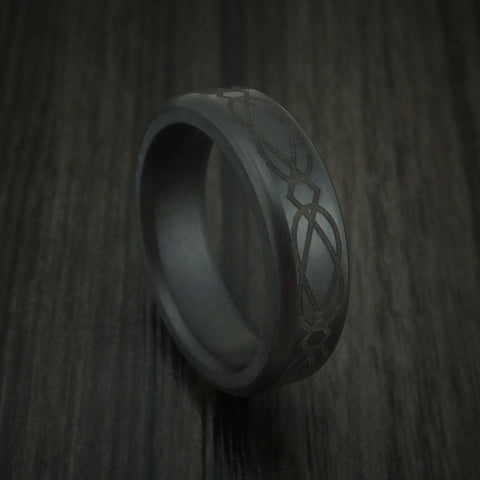 Elysium Black Diamond Slim Wedding Band Rounded with Celtic Pattern and Polish Finish