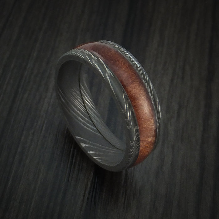 Wood Ring and DAMASCUS Ring inlaid with Ziriciote Hardwood Custom Made to Any Size and Optional Wood Types