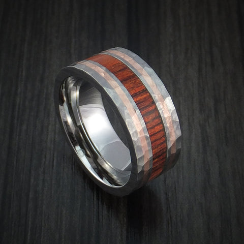 Titanium with 14K Rose Gold and Cocobolo Hardwood Hammered Ring Custom Made Band