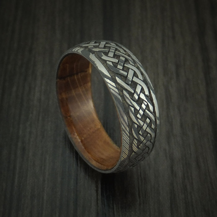 Damascus Steel Celtic Knot Band with Whiskey Barrel Wood Sleeve Custom Made