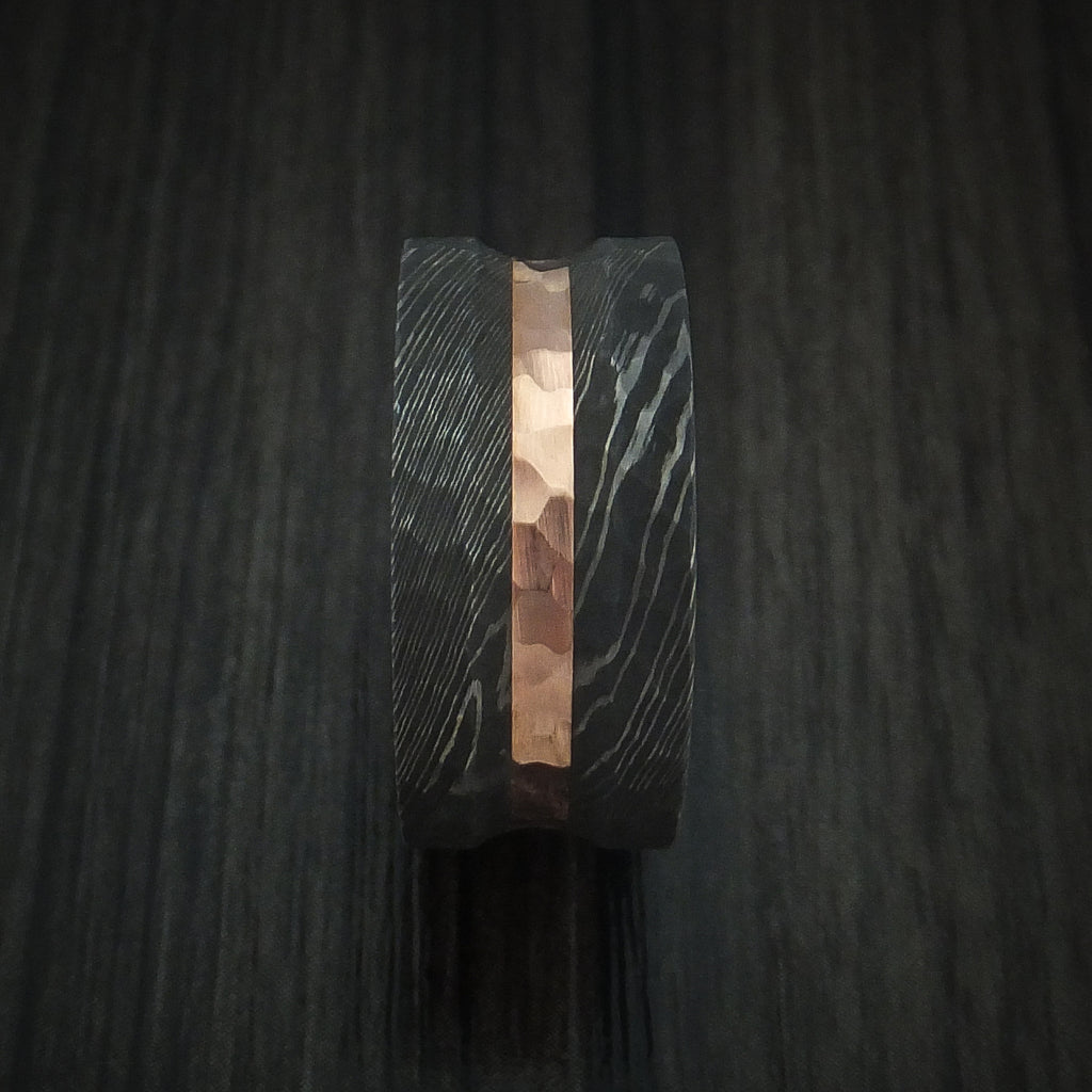Damascus Steel Ring with Rock Hammer Finish and 14k Rose Gold Inlay Custom Made
