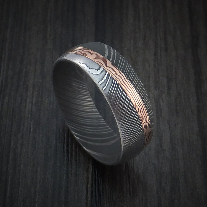 Damascus Steel Ring with Diagonal Rose Gold Mokume Inlay Custom Made